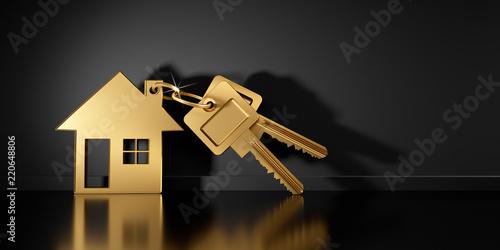 Fotomural Goldener Schlüssel mit Anhänger in Hausform