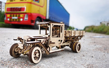 Truck Model Made Of Wood. This Toy Truck (35 Cm Long) Made Entirely Of Wood And Without Glue