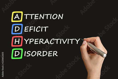 ADHD – attention deficit hyperactivity disorder handwritten by woman on black board Wallpaper Mural