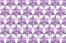 Purple Snowflakes Stars Texture On White Background
