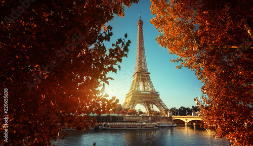 Photo Stands Eiffel Tower Seine in Paris with Eiffel tower in autumn time