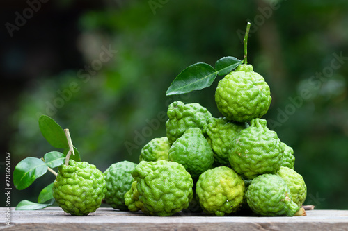 fresh bergamot fruit on wooden table background Canvas Print