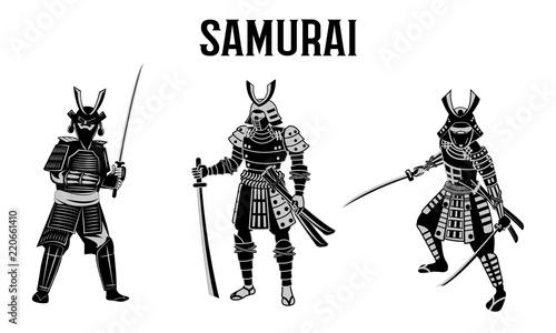 Deurstickers Art Studio Samurai hold sword in front of red circle,warrior of japan,monochrome realistic design,vector illustration