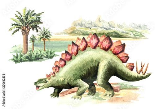 Fotografie, Tablou Stegosaurus dinosaur in prehistorical landscape