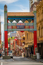 Chinatown Arch In Melbourne, Victoria, Australia, In The Summer
