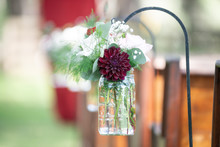 Red And Pink Roses In Mason Jars Isle Decor