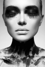 Black And White Portrait Of Girl In Black Paint