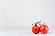 Bunch Ripe Red Tomatoes On Light Soft White Wood Table, Copy Space.