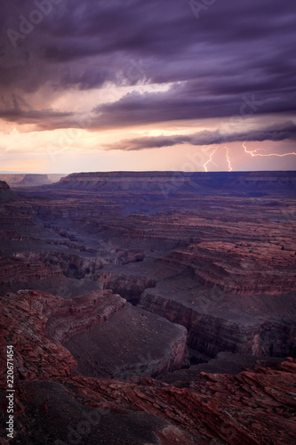 Dramatic storms and lightning at the Grand Canyon, Arizona, USA.