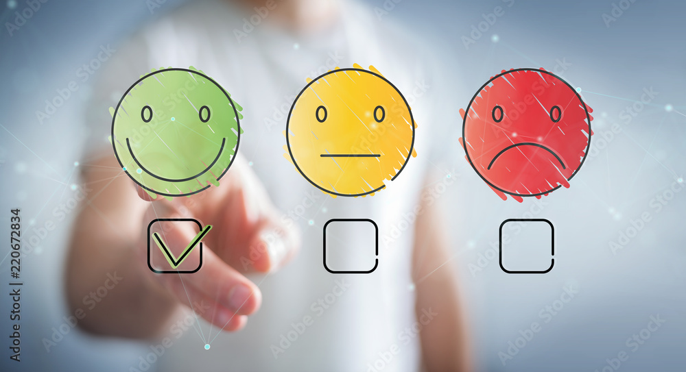 Fototapeta Businessman using thin line customer satisfaction rating