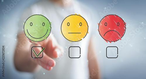 Foto Businessman using thin line customer satisfaction rating