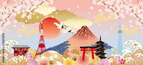 Naklejka premium Japonia mnóstwo kolorów