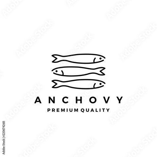 Photo anchovy fish logo vector icon seafood illustration