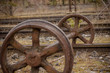 Old train wheels in the abandoned Canfranc Station in Spain