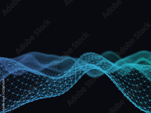 Staande foto Abstract wave Abstract 3d technology futuristic geometrical and science neon visualization. Plexus digital wallpaper. Business concept. Big data and artificial intelligence. Rendering computer virtual reality