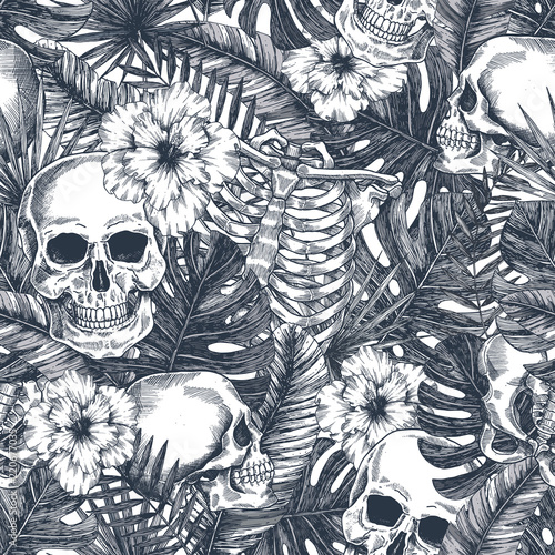 Materiał do szycia Halloween tropikalny vintage jednolity wzór. Przestraszony dżungli w tle czaszki. Anatomia kwiatowy