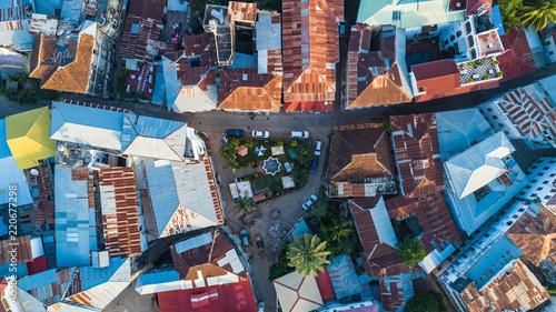 Montage in der Fensternische Sansibar Aerial. Stone town, Zanzibar, Tanzania.
