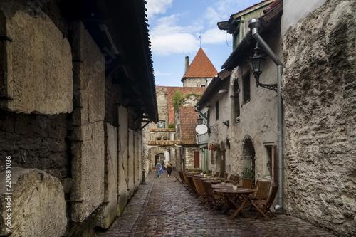Keuken foto achterwand Oude gebouw Beautiful view of the famous Passage of St. Catherine (Katariina käik) in the Old Town of Tallinn, Estonia