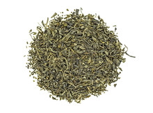 Heap Of Dry Green Tea Isolated On White Background. Top View.