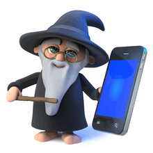 Vector 3d Funny Cartoon Wizard Magician Character With Smartphone