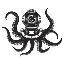 Diver Helmet With Octopus Tentacles Isolated On White Background. Design Elements For Poster, T-shirt.