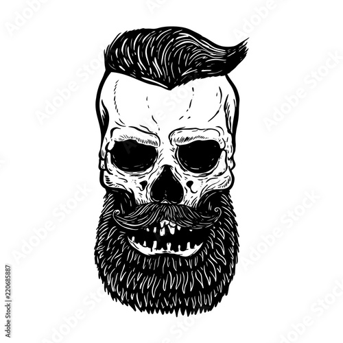 Canvas Prints Owls cartoon Hand drawn bearded skull isolated on white. Design elements for logo, label, emblem, sign.