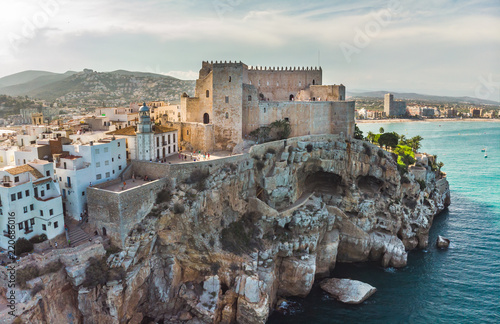 old castle in the town of Peniscola panoramic view of the city. province of Castellon, Valencian Community, Spain.