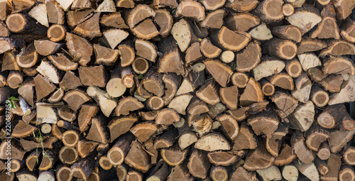Foto op Canvas Brandhout textuur chopped firewood, Firewood stack for fire