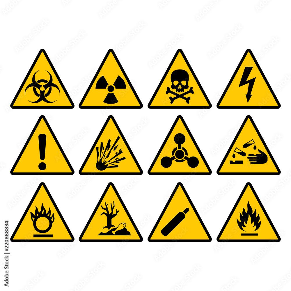 Fototapeta Warning yellow triangle sign set. Warning and hazard triangular vector signs.