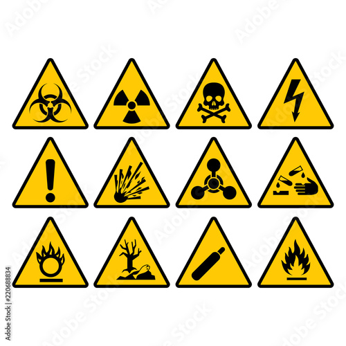 Fotografie, Obraz Warning yellow triangle sign set