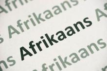 Word Afrikaans  Language Printed On Paper Macro