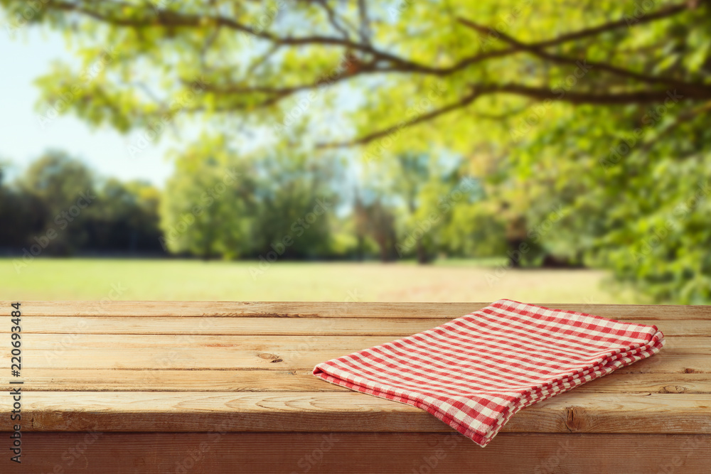 Fototapety, obrazy: Empty wooden table with tablecloth over autumn nature park background