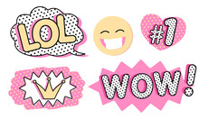 Set Of Cute Vector Stickers. B...
