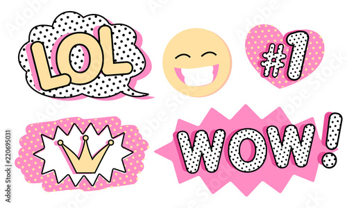 Valokuva Set of cute vector stickers
