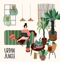 Urban Jungle. Vector Illustration With Trendy Home Decor. Houseplants, Tropical Leaves.
