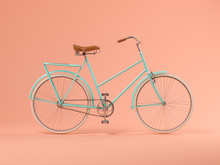 Blue Bicycle On Pink Backgroun...