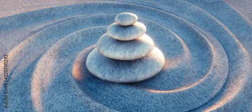 Zen - Steinturm im Sand mit Wellen Fototapete
