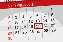 Calendar Planner For The Month, Deadline Day Of The Week, 2018 September, 20, Thursday
