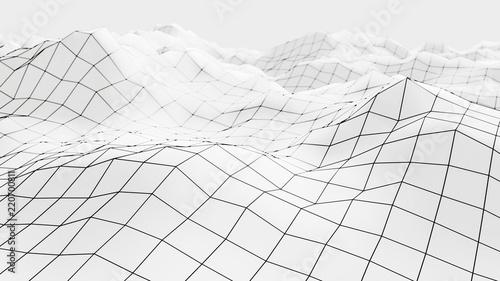 Fotografia Wireframe mesh surface 3d illustration