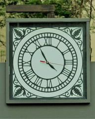clock with hour marker in Roman numerals