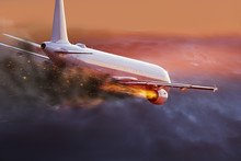 Airplane With Engine On Fire, ...