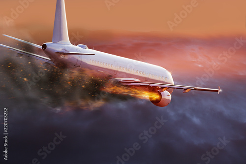 Airplane with engine on fire, concept of aerial disaster. Canvas Print
