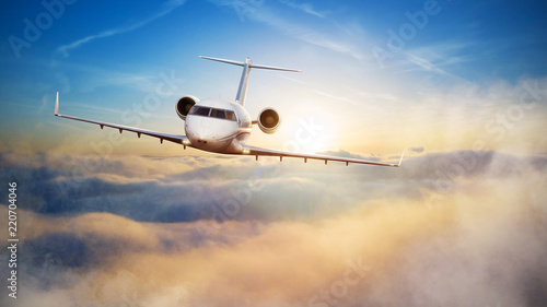 Fotografia Luxury private jetliner flying above clouds