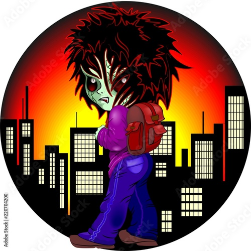 Spoed Foto op Canvas Draw Evil Kid Zombie on Night City Urban Nightmare