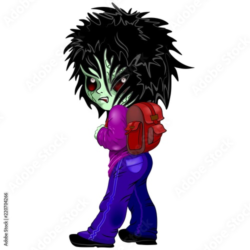 Fotobehang Draw Evil Kid Zombie Monster