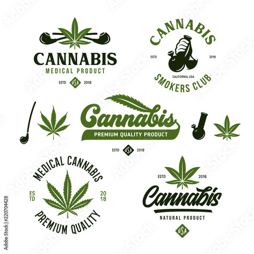 Fotografía  Cannabis marijuana labels emblems badges set