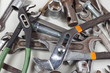 Spanners, nuts, bolts and nuts for mechanical work close up