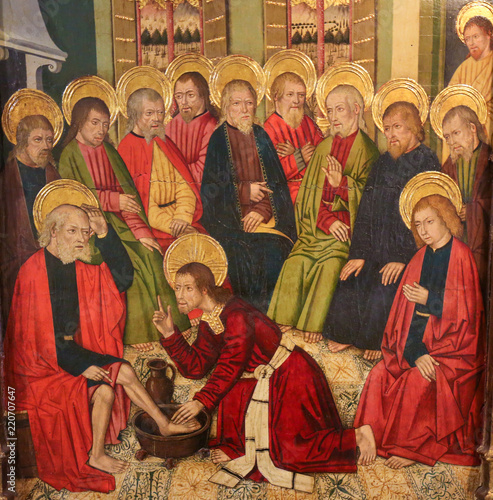 Valokuva  Jesus Christ washing the Feet of the Apostles at the Last Supper