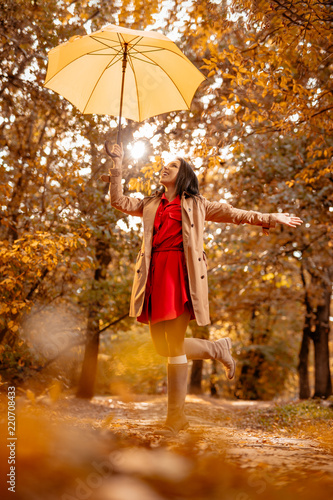 fototapeta na drzwi i meble Happy Woman In Autumn Park