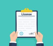 Man Hold License. Checklist. Holding The Clipboard. Paperwork, Sheets In Folder. Vector Illustration.